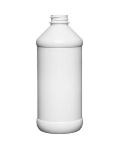 16 oz. White PET Plastic Modern Round Bottle, 28mm 28-400