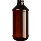 8 oz. Amber PET Plastic Modern Round Bottle, 24mm 24-400