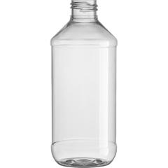 8 oz. Clear PET Plastic Modern Round Bottle, 24mm 24-410