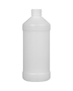 16 oz. Natural HDPE Plastic Modern Round Bottle, 28mm 28-410, 31 Grams