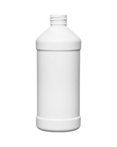 16 oz. White HDPE Plastic Modern Round Bottle, 28mm 28-410, 31 Grams