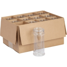8 oz. (8.4 oz.) Clear PET Plastic Spice Jar, 53mm 53-485, 12x1 Reshipper Box