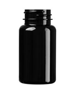 2.5 oz. (75 cc) Black PET Plastic Packer Bottle, 33mm 33-400