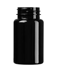 3.5 oz. (100 cc) Black PET Plastic Packer Bottle, 38mm 38-400