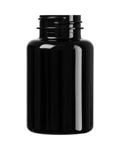 6 oz. (175 cc) Black PET Plastic Packer Bottle, 38mm 38-400