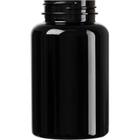 8 oz. (250 cc) Black PET Plastic Packer Bottle, 45mm 45-400