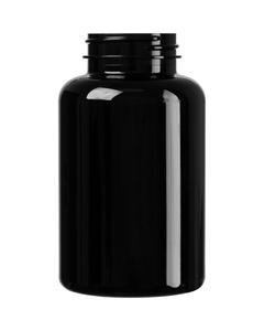10 oz. (300 cc) Black PET Plastic Packer Bottle, 45mm 45-400