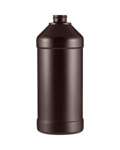 32 oz. Brown Peroxide Modern Round Barrier Resin Bottle, 28mm 28-400