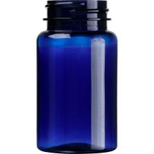 3.5 oz. (100 cc) Cobalt Blue PET Plastic Packer Bottle, 38mm 38-400