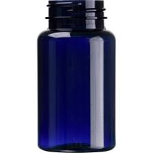 4 oz. (120 cc) Cobalt Blue PET Plastic Packer Bottle, 38mm 38-400