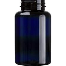8 oz. (250 cc) Cobalt Blue PET Plastic Packer Bottle, 45mm 45-400