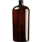 33.8 oz. (1 Liter) Amber PET Plastic Oval Bottle, 28mm 28-415