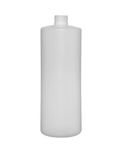 32 oz. Natural HDPE Plastic Cylinder Bottle, 28mm 28-410