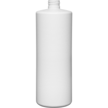32 oz. White HDPE Plastic Cylinder Bottle, 28mm 28-410