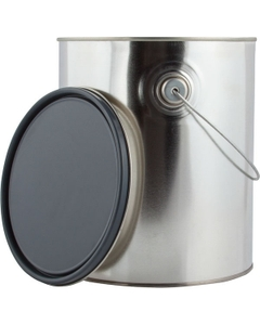 1 Gallon Metal Paint Can with Ears, Bail and Lid, Gray Epoxy Phenolic Lined