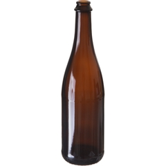 25.36 oz. (750 ml) Amber Glass Sparkling Beer Bottle, Crown Pry-Off & Cork, 26-3160