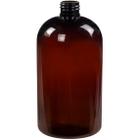 16 oz. Amber PET Plastic Squat Boston Round Bottle, 24mm 24-410