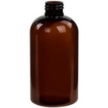 8 oz. Amber PET Plastic Squat Boston Round Bottle, 24mm 24-410