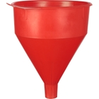 Red Plastic Funnel with Brass Screen, 1 Gallon, 6/cs