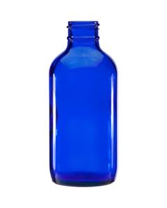 4 oz. Cobalt Blue Boston Round Glass Bottle, 24mm 24-400