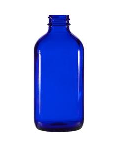 8 oz. Cobalt Blue Boston Round Glass Bottle, 28mm 28-400