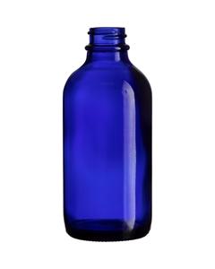 4 oz. Cobalt Blue Boston Round Glass Bottle, 22mm 22-400