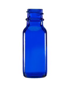 1/2 oz. Cobalt Blue Boston Round Glass Bottle, 18mm 18-400