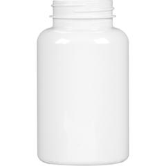 8 oz. (250 cc) White PET Plastic Packer Bottle, 45mm 45-400