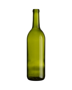 750 ml Champagne Green Bordeaux Wine Bottles, Cork, 12/cs