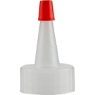 24mm 24-400 Natural Spout Cap with Red Sealer Tip, No Hole
