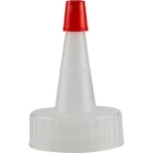 28mm 28-400 Natural Spout Cap with Red Sealer Tip, No Hole