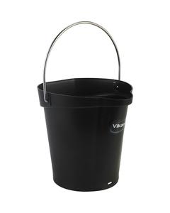 1.5 Gallon Black Plastic Pail w/Spout, Stainless Steel Handle