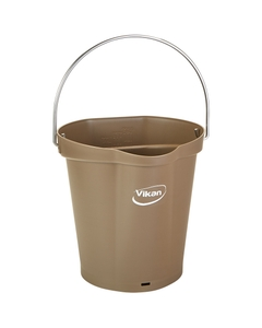 1.5 Gallon Brown Plastic Pail w/Spout, Stainless Steel Handle