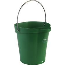 1.5 Gallon Green Plastic Pail w/Spout, Stainless Steel Handle