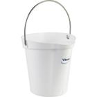 1.5 Gallon White Plastic Pail w/Spout, Stainless Steel Handle