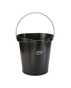 3 Gallon Black Plastic Pail w/Spout, Stainless Steel Handle