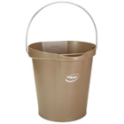 3 Gallon Brown Plastic Pail w/Spout, Stainless Steel Handle