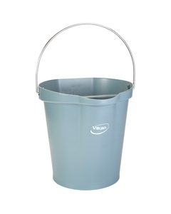 3 Gallon Gray Plastic Pail w/Spout, Stainless Steel Handle