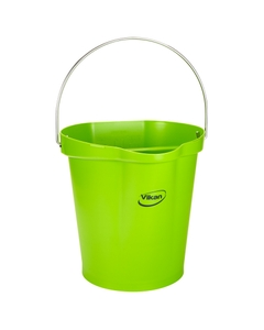 3 Gallon Lime Green Plastic Pail w/Spout, Stainless Steel Handle