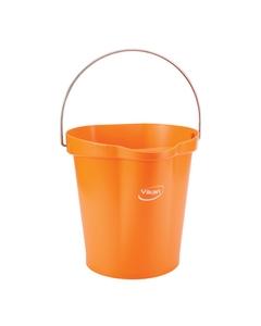 3 Gallon Orange Plastic Pail w/Spout, Stainless Steel Handle