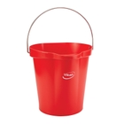 3 Gallon Red Plastic Pail w/Spout, Stainless Steel Handle