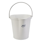 3 Gallon White Plastic Pail w/Spout, Stainless Steel Handle
