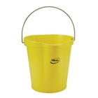 3 Gallon Yellow Plastic Pail w/Spout, Stainless Steel Handle