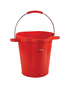 5 Gallon Red Plastic Pail w/Spout, Stainless Steel Handle
