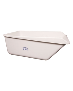 White HDPE Plastic Angled Dump Tub w/Drain Plug