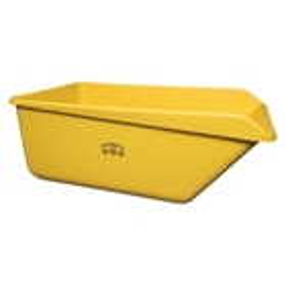 Yellow HDPE Plastic Angled Dump Tub w/Drain Plug