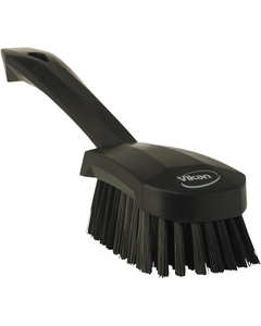 "Black Short-Handled Scrubbing Churn Brush, 9.8"" Length"