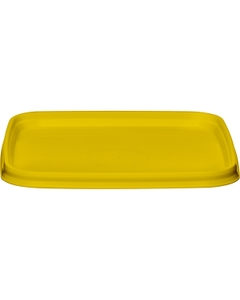 105mm Yellow PP Plastic Square Tamper Evident Lid for 7-16 oz. Containers