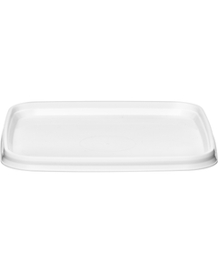 105mm 105-TE White PP Square Tamper Evident Lid, For 7-16 oz. Containers