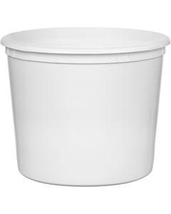166 oz. White HDPE Plastic Round Container, L811